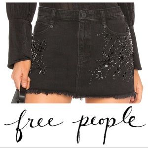 SHINE BRIGHT SHINE FAR DENIM RHINESTONE MINI SKIRT